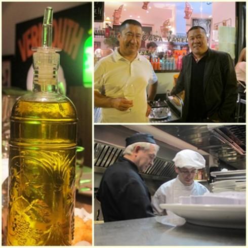 Aceite de oliva vírgen. Los hermanos Kao, del restaurante Shangai, muy amigos de la casa. Momento cocina